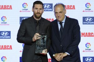 Javier Tebas and Lionel Messi
