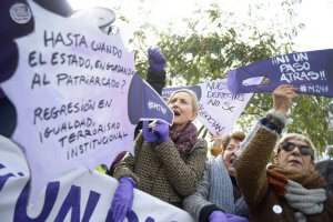 Spanish feminists rally