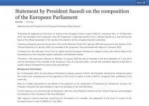 EU Parliament Statement