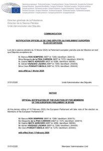 EU Parliament notification